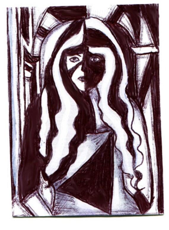 modern city girl woman aceo atc art abstract original black ink acrylics miniature paintings Elizavella
