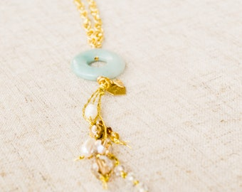 The Jade Pendant-Gold Jade pendant tassel necklace, with pearls and swarovski crystal beads, for bridal parties, brides, and bridesmaids.
