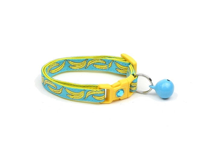 Fruit Cat Collar - Bananas on Bright Blue- Small Cat / Kitten Size or Large Size