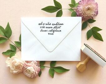 Address Stamp | Return Address Stamp | Custom Address Stamp | Rubber Stamp | Wooden Handle Full Calligraphy Rubber Address Stamp