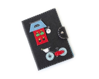 Kindle cover | Ready to Ship Paperwhite cover | Kindle paperwhite case | Kobo Touch case | Kindle 4 cover | Red Felt house, bicycle