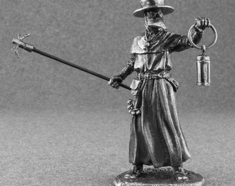 Miniature Figurines Plague Doctor Middle Ages 1/32 Scale Collection 54mm Tin Metal Antique Action Statuette