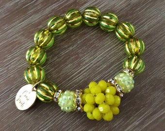 Stretch Bead Bracelet – Large Bead Bracelet Green and Yellow, Our Top Selling Bracelet for Spring 2018