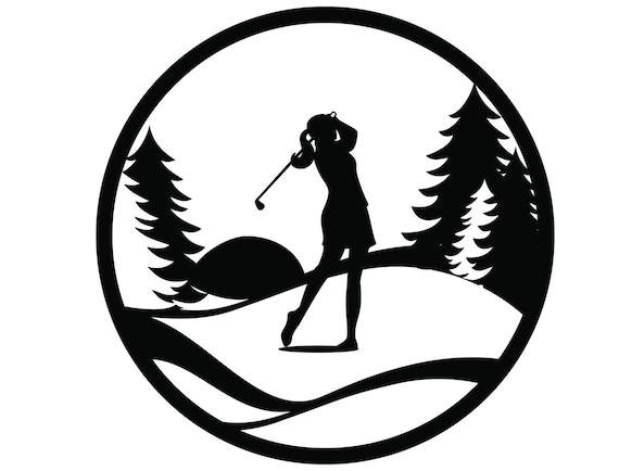 Golf Metal Wall Art Woman Golfing Sign Golf Gift