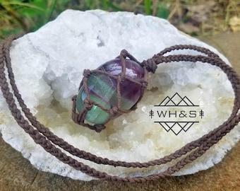 Hemp Wrapped Fluorite Necklace, Polished Fluorite Jewelry, Healing Crystal Jewelry, Healing Crystal Necklace, Stone Pendant