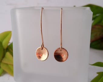 Rose Gold Earrings. Small Hammered Circle, Rose Gold Bonded, Gold Earrings, Contemporary Earrings, Mothers Day, Gift For Her