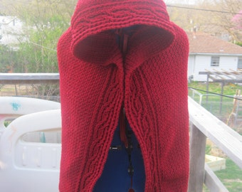 Custom Cape with Hood, Ruadh, Renaissance, Costume, crochet, Celtic, Knot work, Irish, Red Riding Hood, Fair, Clothing, LARP COSPLAY