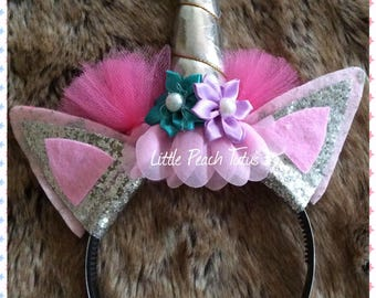 Unicorn headband with sparkles, tulle and flowers