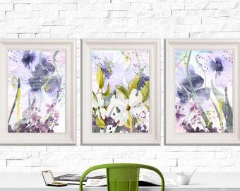 Purple Watercolor Flower Print Set of 3 8x10 Purple wall art Flower wall art Lilac and lime green DIGITAL DOWNLOAD Flower Painting Art Print