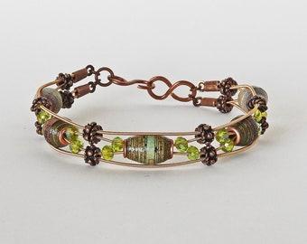 Lime and Stone - Handmade Paper Bead & Guitar String Bracelet