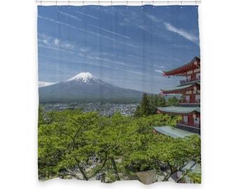 """Mount Fuji Shower Curtain 72"""" x 66"""""""