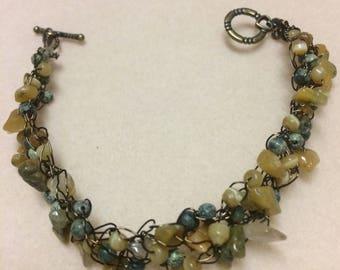 Autumnal color Wire crochet bracelet
