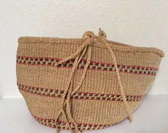 Large Vintage Bohemian Woven Market Bag with Stripes - Sisal Summer Beach Tote - Boho Chic