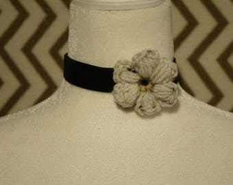 Black Velvet Choker with White Crochet Flower