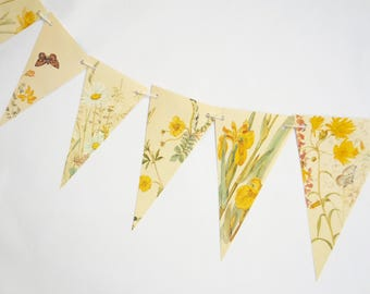 Spring garland, Paper Garland, Yellow flowers, eco-friendly Spring banner, up-cycled bunting, wedding pennants, wedding decor