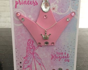 Hand Made Princess Birthday Card with Necklace