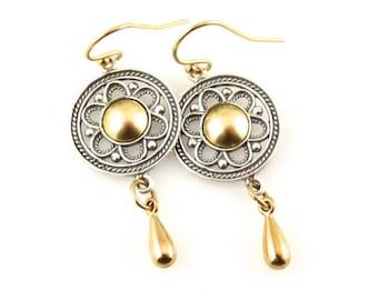 Silver Gold Earrings, Two Tone Earrings, Gold Silver Geometric  Earrings, Mixed Metal Earrings, Boho earrings, silver gold mandalas