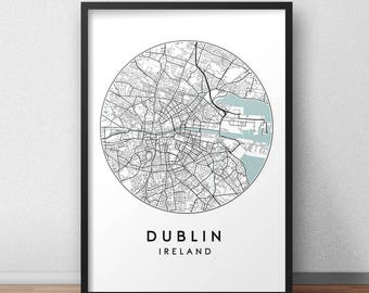 Dublin City Print, Street Map Art, Dublin Map Poster, Dublin Map Print, City Map Wall Art, Dublin Map, Travel Poster, Ireland