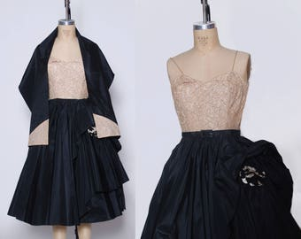 Vintage 50s taffeta evening dress / sequin lace dress with matching shawl / 1940s formal dress
