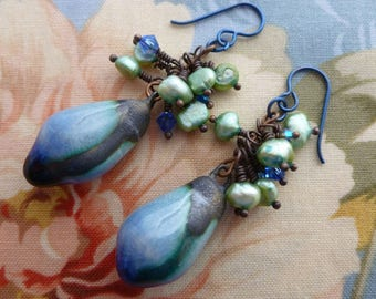 Raindrops On Roses, Boho Rustic Organic Ceramic Earrings, Pearl and Crystal Jewelry, Blue Baubles, Northernblooms