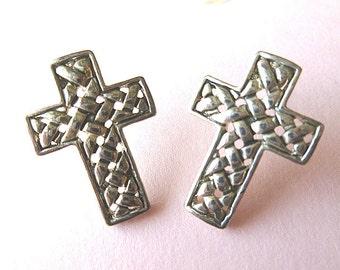 BASKETWEAVE SILVERTONE Signed Basketweave Earrings, Vintage Designer Cross Earrings, Pierced Earrings, Vintage Earrings, Silver Earrings