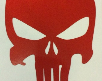 Reflective Punisher red Skull Decal