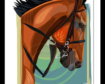 American Pharoah Thoroughbred Race Horse Giclee Print  Paper of Original Digital Art Modern Contemporary Colors Equestrian Gifts