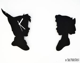 Peter Pan and Wendy - Set of 2 - Silhouettes -  Silhouette Wall Clock
