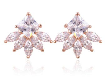18KT Gold Plated Cushion Cut Marquis Earring Jacket