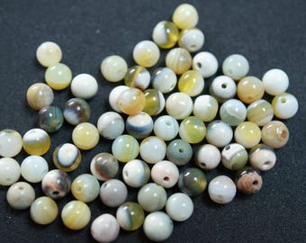 60 beige and Brown 6 mm AGATE beads