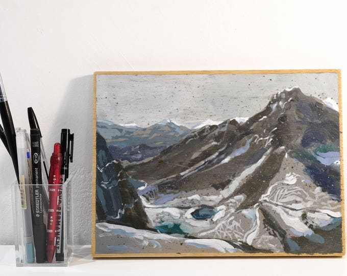 Featured listing image: NEW!! incredible Snowed mountains landscape. Original painting by Juanma Pérez. oil on plywood.