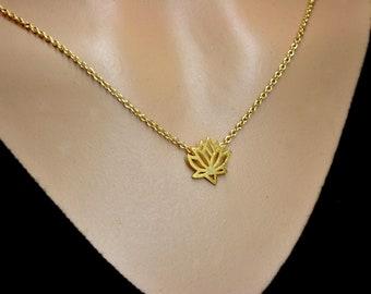 Gold Lotus Necklace, Lotus Flower Necklace, Yoga Necklace, Yoga Jewelry, Girls Necklace, Gift for friends, Bridesmaids Necklace