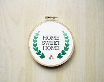 Home Sweet Home Modern Counted Cross Stitch Pattern | Instant PDF Download