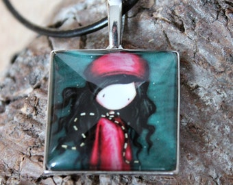 With sweet girl trailers, silberfarbend cabochon necklace on black leather strap