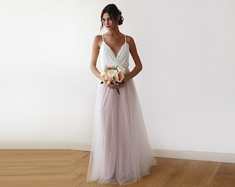 Tulle Wedding Dress, Tulle Wedding Gown, Tulle Maxi Dress, Pink Wedding Dress, Bridal Gown, Ivory Wedding Dress, Tulle Wedding Dress 1185