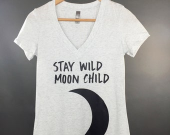 Stay Wild Moon Child Vneck: Women's Deep V Neck Shirt- 5 Colors Available
