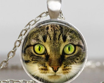 Cat green eyes pendant , cat  necklace ,  cat jewelry, art pendant , gift for friend family , cat green eyes necklace