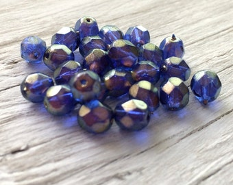 Czech glass beads -  faceted round beads halo ultramarine blue 6mm pack of 20 (F614)