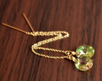 Crystal Earrings, Threader Earrings, Real Swarovski, Luminous Green, Cable Chain, Delicate Gold Jewelry