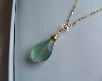 Fluorite with Ethiopian opal pendant 14k gold filled balls vermeil ornament gemstone handmade MLMR item 788p