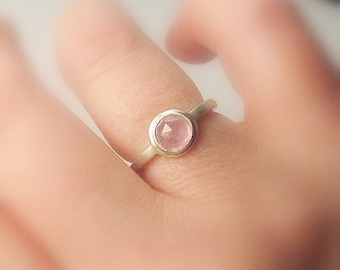 Sapphire Solitaire Sterling Silver, Pastel Rose Natural Sapphire, Ready to Ship, size 5.5