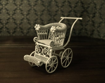 1:12 Scale Miniature White Wire Baby Stroller
