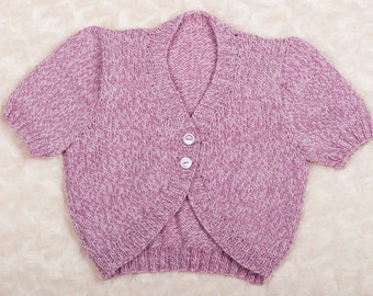 Short sleeved cardigan in Sirdar 4 ply wool