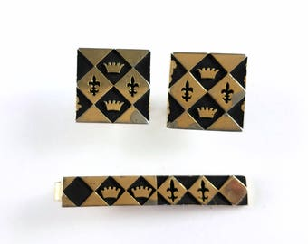 Vintage Gold Tone and Black Enamel Crowns and Fleur De Lis Cufflinks and Tie Clip Signed Swank