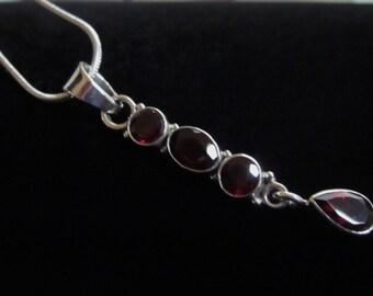 Gorgeous, Garnet Gemstone, Drop, Silver Pendant Necklace