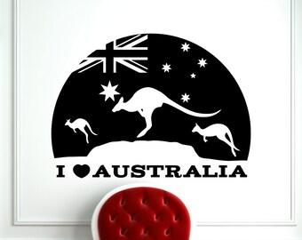 I Love Australia Kangaroo Wall Decal Wild Animal Wallaby Vinyl Sticker Home Interior Kids Room Nursery Art Decoration Mural (211a)