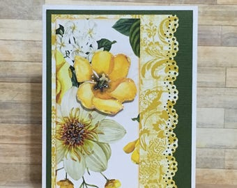 Greeting card, Handmade card, occasion card, blank card, yellow, flower card