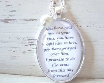 Mother of the groom pendant necklace, gift for future mother in law, original work