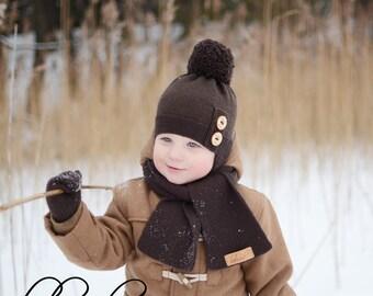 Brown Knit Beanie, Kids Winter Hat, Knit Boys Pompom Beanie, Knitted Baby Boy Hat, Warm Toddler Boy Beanie, Merino Wool Children Hat