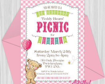 Printable Pink Teddy Bears' Picnic Invitation